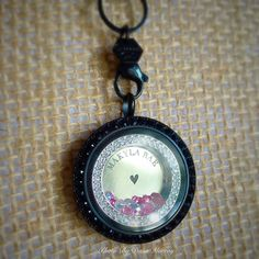 Origami Owl-Inscriptions plate with crystal window frame, stardust crystals, black face with jet crystals and black base. www.danamurray.origamiowl.com