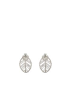 Sterling Silver Wire Wrapped Leaf Stud Earrings