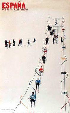 Vintage ski poster, Spain, 1970's