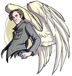 Spunky Gabriel, showing off Supernatural Series, Supernatural Angels, Supernatural Drawings, Supernatural Fandom, Castiel, Crowley, Gabriel Spn, Supernatural Gabriel, Cartoon Kunst