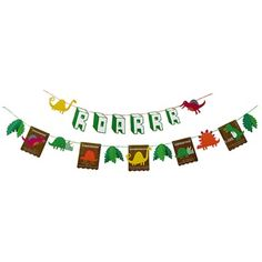 Dinosaur garland by Leigh Tucker Willow, threaded with bright ribbon