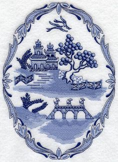 This Design Is Inspired By The Blue Willow China Patterns
