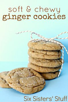 Soft and Chewy Ginger Cookies from SixSistersStuff.com - these cookies are ridiculously good!