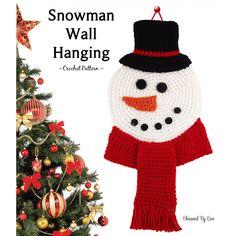 Free Crochet Pattern ~ Snowman Wall Hanging