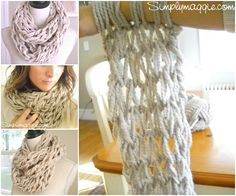 Arm Knitting Step By Step : Arm knit infinity scarf cowl charcoal gray silver button cuff