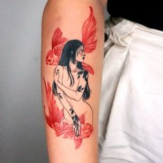 The Needles 로다 on In Red Ink Tattoos, Tattoos Skull, Dope Tattoos, Pretty Tattoos, Unique Tattoos, Beautiful Tattoos, Body Art Tattoos, Small Tattoos, Coy Fish Tattoos