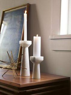 these white marble candleholders by Tom Dixon are so pretty. $85 #home  #decor  #candles