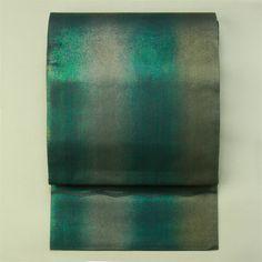 Gray and green gradation, rokutsu sha, summer obi / グレー地グラデーションの箔柄六通紗袋帯夏物
