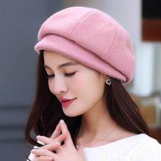 Fashion plain beret hat for women wild wool blend winter hats