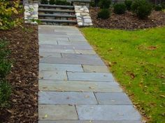 Each set of our beautiful precast concrete steps looks phenomenal at the end of a stone walkway. Find the right walkway for your steps. Slate Walkway, Outdoor Walkway, Paver Walkway, Front Walkway, Walkway Ideas, Walkway Designs, Front Porch, Front Steps, Paver Sidewalk