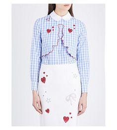 VIVETTA Embroidered-Detail Stretch-Cotton Blouse. #vivetta #cloth #tops