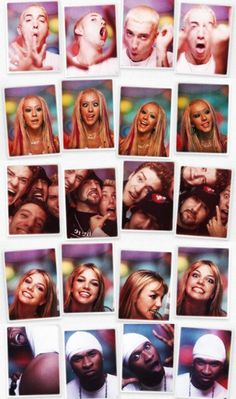 Eminem , Christina Aguilera , NSYNC , Britney Spears and Usher photo booth photos 90s Childhood, My Childhood Memories, Christina Aguilera, Eminem, Britney Spears, Mtv, Cluedo, La Girl, Beverly Hills