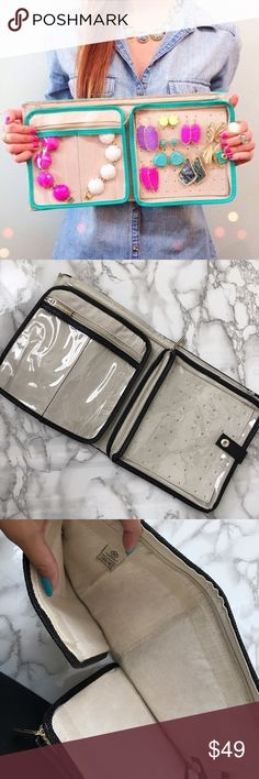 Kendra Scott Travel Jewelry Holder - Black Kendra Scott Travel Jewelry Case in black. One side holds bracelets and necklaces, and the other side holds earrings. In pretty good condition. Only used a few times. Kendra Scott Bags Travel Bags