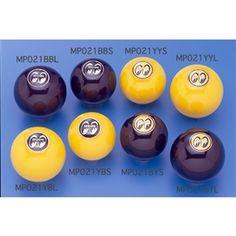 Mooneyes MOON Original Universal Shifter Knobs: Yellow or Black MQQN Logo on Ball