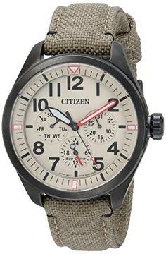 Citizen Men's 'Military' Quartz Stainless Steel and Nylon...