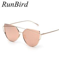 92ba791522fe RunBird Mirror Flat Lense Women Cat Eye Sunglasses Classic Brand Designer  Twin-Beams Rose Gold Frame Sun Glasses for Women Like if you remember  fashion