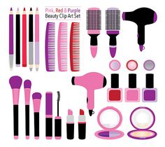Beauty Clip Art pink/purple/red makeup images #makeup #clipart #cosmetics