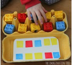 Making patterns with Lego in egg cartons