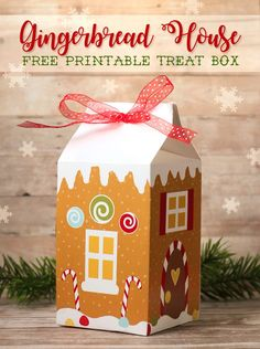 DIY Gingerbread House Treat Boxes are a cute way to package up Christmas goodies for neighbors, co-workers or teachers. Free printable or free SVG cut file and a photo tutorial.