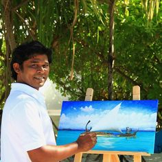 Velassaru Living, the resort's boutique & gallery, exhibits artworks from the resident #artist, Achchu Waheed. He has been working since the age of 15 as an artist and his many different mediums from oil, #acrylic, water #colours, pencil and #Pyrography.  Meet Achchu in person and be inspired by the #Maldivian arts. He will share his artistic skills on a live #painting session at the Fen Bar garden from 1000 hrs to 1100 hrs. #maldives #localartist