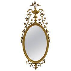 Adams Style Gilt Carved and Floral Leaf Embellished Mirror
