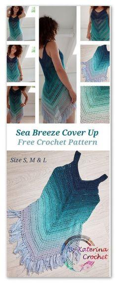 Sea Breeze Cover Up. Free Crochet Pattern for sizes S, M and L Sea Breeze Cover Up. Free Crochet Pattern for sizes S, M and Lcrochet top patterns Sea Breeze Cover Up. Free Crochet Pattern for sizes S, M and L - The Sea Breeze Cover Up is such an easy Mode Crochet, Crochet Diy, Crochet Woman, Crochet Shawl, Crochet Crafts, Crochet Stitches, Crochet Projects, Crochet Ideas, Crochet Tops