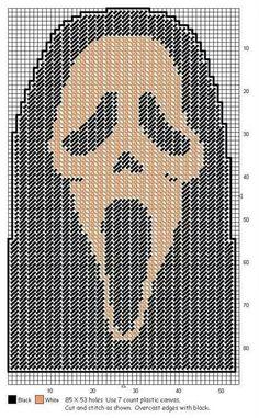 Plastic Canvas Ornaments, Plastic Canvas Tissue Boxes, Plastic Canvas Crafts, Plastic Canvas Patterns, Plastic Board, Halloween Canvas, Halloween Masks, Halloween Crafts, Halloween 2016