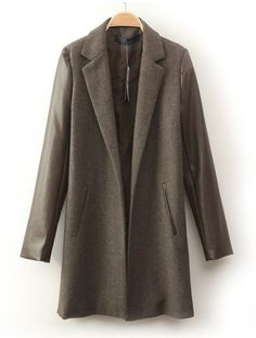 Brown Lapel Contrast PU Leather Long Sleeve Coat - Sheinside.com