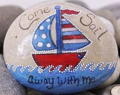 Painted Stone, Painted Rock, Hand Painted Stone, Painted Pebbles, Beach Stone, Beach Pebble, Rock Art, Swarovski, Sail Boat in the Ocean