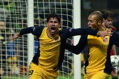 Celebración de Diego Costa con su gol en el minuto 83. Madre mía, hemos conquistado San Siro... #Atleti
