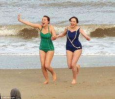 Life's beach: Saoirse Ronan was seen filming Brooklyn in a green swimsuit in Ireland - release date: November 6, 2015