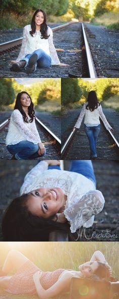 Senior Session #mccreationsphotography #seniorportraits #railroadtracks #sunset