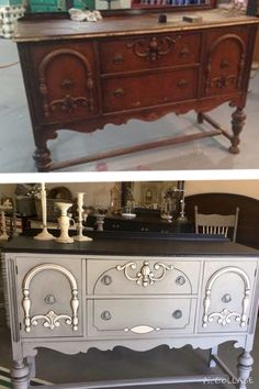 Antique buffet in Paris Gray, Graphite & White. Interesting colorway to think about for the dresser. Chalk Paint Furniture, Furniture Projects, Furniture Making, Diy Furniture, Furniture Design, Painting Antique Furniture, Furniture Refinishing, Refurbished Furniture, Repurposed Furniture