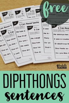FREE targeted sentences for 100+ phonics skills so students can practice their newly learned phonics skills in context. Skills include short vowel word families, digraphs, blends, cvce, long vowel teams, dipthongs, and r-controlled vowels. Free reading sentences   dipthongs worksheets   reading fluency   kindergarten reading activities   dipthong activities   reading sentences kindergarten   free kindergarten printables