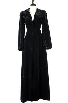Vintage 30s Black Velvet Opera Coat Saks Fifth Avenue M