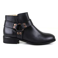 A new profile for this Autumn, this ankle boot has a easy low heel, a beautiful equestrian toe shape and some chunky yet subtle hardware. Cut for the perfect fit around the ankle, Chiara is a boot that is designed to look great with all your favourite jeans - skinny, boyfriend or bootcut. Soft hand finished leather. http://sevenbootlane.com/collections/boots/products/chiara-black-leather