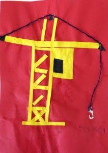 Hijskraan knippen en plakken met kleuters, thema wij bouwen een huis, kleuteridee