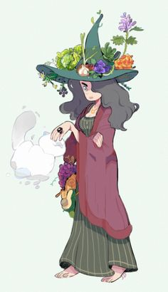 Witchsona!gotta hat with a salad of magical herbs/plants and kitty familiars