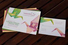 Watercolor Paper Cranes Wedding Invitation - gorgeous!