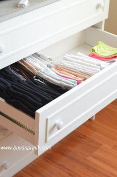 Çekmece içi düzeni, ev düzeni, kolay ev hayatı, pratik bilgiler, pratik ev hayatı, tişört bluz atlet katlama