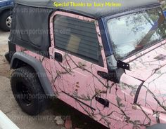 Would love to have my Jeep Wrangler wrapped in Real Tree Pink Camo, just like Lucy McLean did hers.