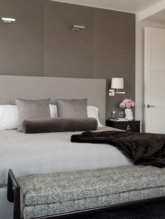 fabulous taupe silver and damson shades for a contemporary bedroom  by Weitzman Halpern Design