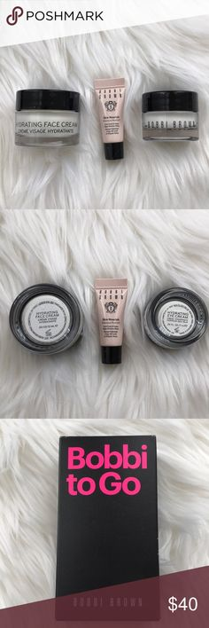 Bobbi to Go Skin Nourish Mask, Eye & Face creams Bobbi to Go Skin Nourish Moisture Mask (3ml), Hydrating Eye Cream (7ml) & Hydrating Face Cream (15ml), brand new in box, never used! MSRP $75. Thanks for shopping my closet!💕 Bobbi Brown Makeup