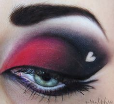 Red and black eyeshadow with black liner.