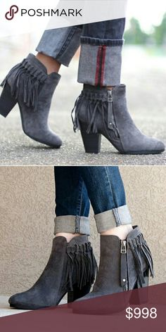 "🔜 COMING SOON 🌻 Grey Fringe Ankle Bootie Super comfortable and trendy gray fringe ankle bootie.   ⚬Faux suede.  ⚬Heel height approx 3"". ⚬Brand new with tags. ⚬Zipper closure. ⚬Grey only  ***Message with you're size to be tagged upon arrival. Price will be approx $45*** Boutique  Shoes Ankle Boots & Booties"