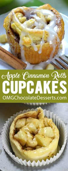 A delicious hybrid of cupcakes and cinnamon rolls with fresh apples! Simply pat … A delicious hybrid of cupcakes and cinnamon rolls with fresh apples! Simply pat each cinnamon roll into a thin disk then press them into cupcake cups. Fall Dessert Recipes, Köstliche Desserts, Cupcake Recipes, Delicious Desserts, Cupcake Cakes, Apple Desserts, Delicious Cupcakes, Donut Recipes, Health Desserts