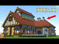 Minecraft: How to Build a LARGE SURVIVAL House Tutorial - Stable/Barn Tutorial This is a large minecraft survival house/stables/barn. Minecraft Horse Stables, Minecraft Barn, Minecraft Castle, Minecraft Construction, Minecraft House Tutorials, Minecraft Houses Blueprints, Minecraft House Designs, Minecraft Tutorial, Arquitetura