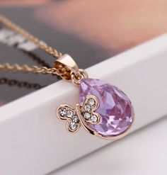 Austria Crystal 18KG Plated Promotion Luxurious Sparking Rhinestone Dragonfly Pendant Necklace N2500