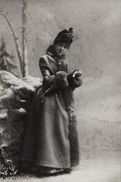 Miss Emma Nevada(1859-1940) packing a snowball in New York City, 1883-1890. Nevada was considered one of the finest coloratura sopranos of the 19th & 20th century.