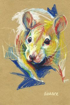 Watercolor pencils and paint markers on kraft paper.( This rat is my Praline ! ) #rat #art By Nuance (http://nuancescurieuses.tumblr.com/)